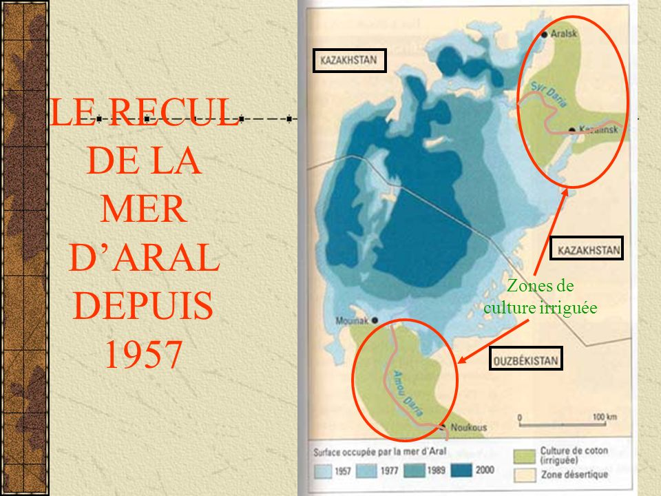 LE RECUL DE LA MER D'ARAL DEPUIS 1957
