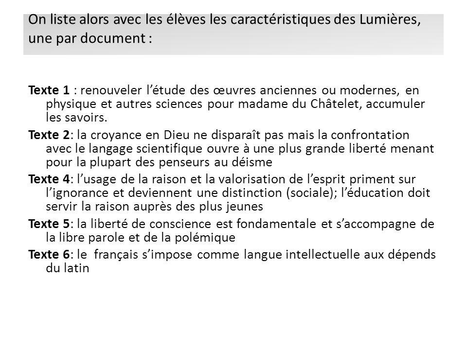 On liste alors avec les élèves les caractéristiques des Lumières, une par document :