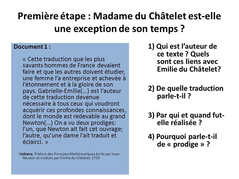 Première étape : Madame du Châtelet est-elle une exception de son temps