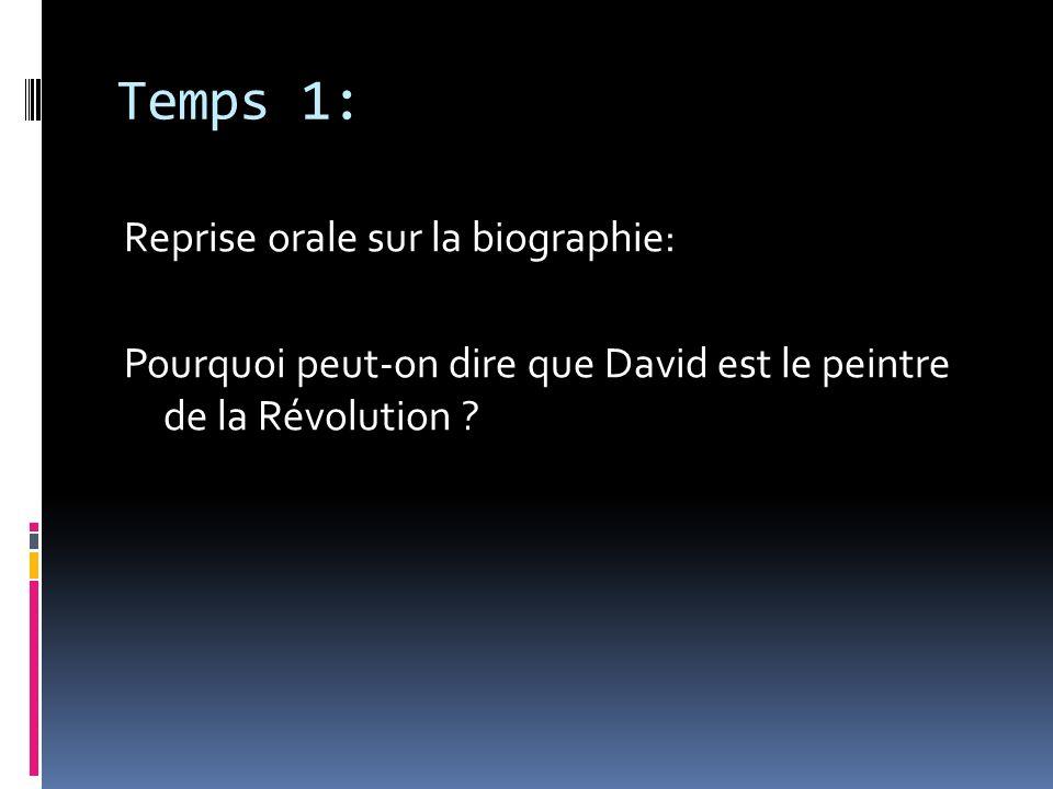 Temps 1: Reprise orale sur la biographie: Pourquoi peut-on dire que David est le peintre de la Révolution .