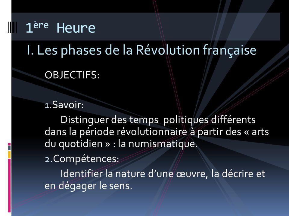1ère Heure I. Les phases de la Révolution française OBJECTIFS: Savoir: