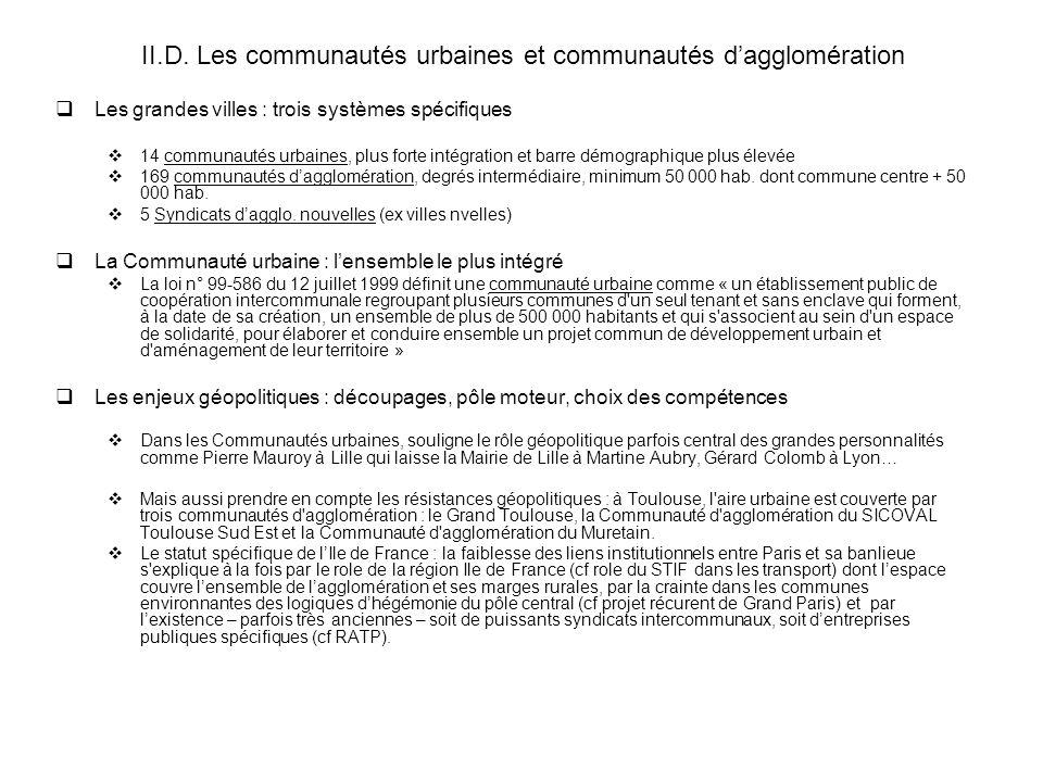 II.D. Les communautés urbaines et communautés d'agglomération