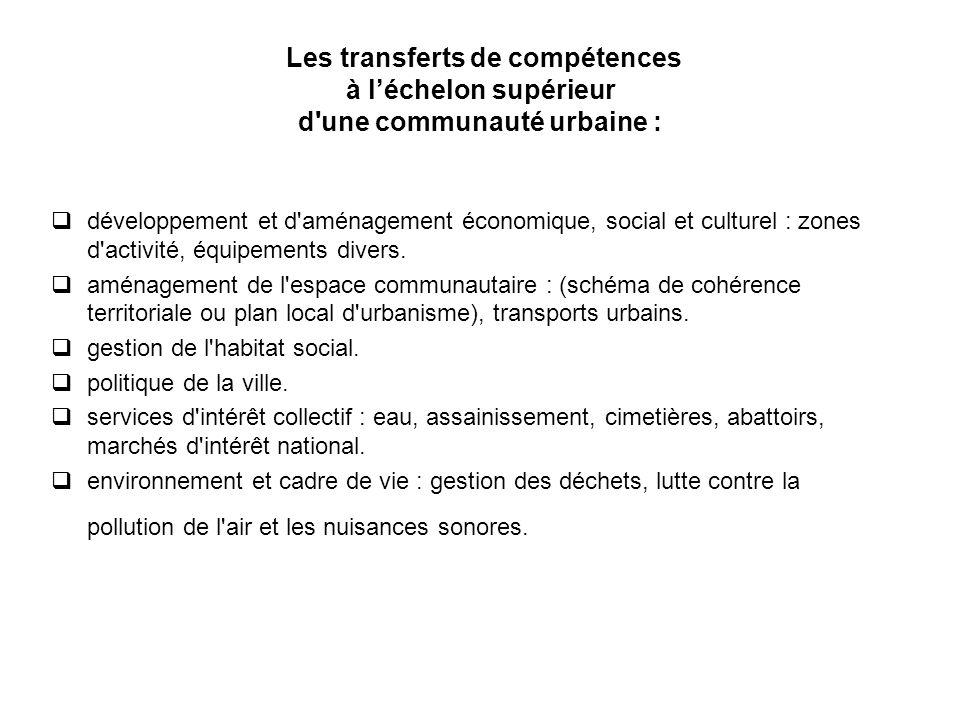 Les transferts de compétences à l'échelon supérieur d une communauté urbaine :