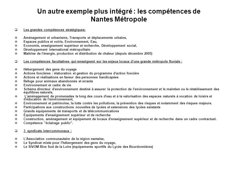 Un autre exemple plus intégré : les compétences de Nantes Métropole