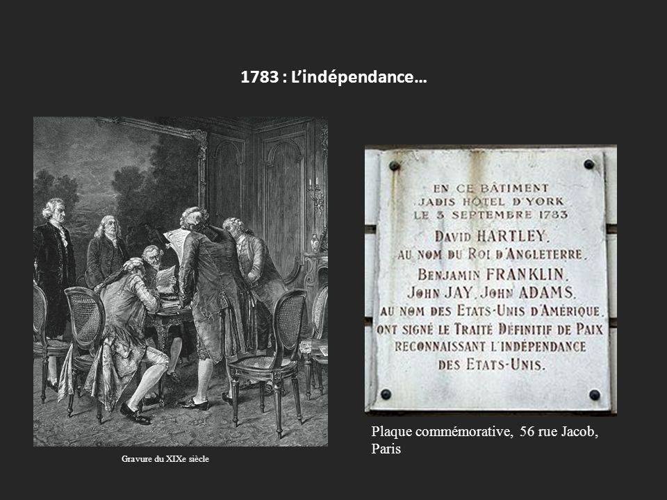 1783 : L'indépendance… Plaque commémorative, 56 rue Jacob, Paris