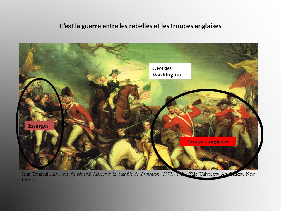 C'est la guerre entre les rebelles et les troupes anglaises
