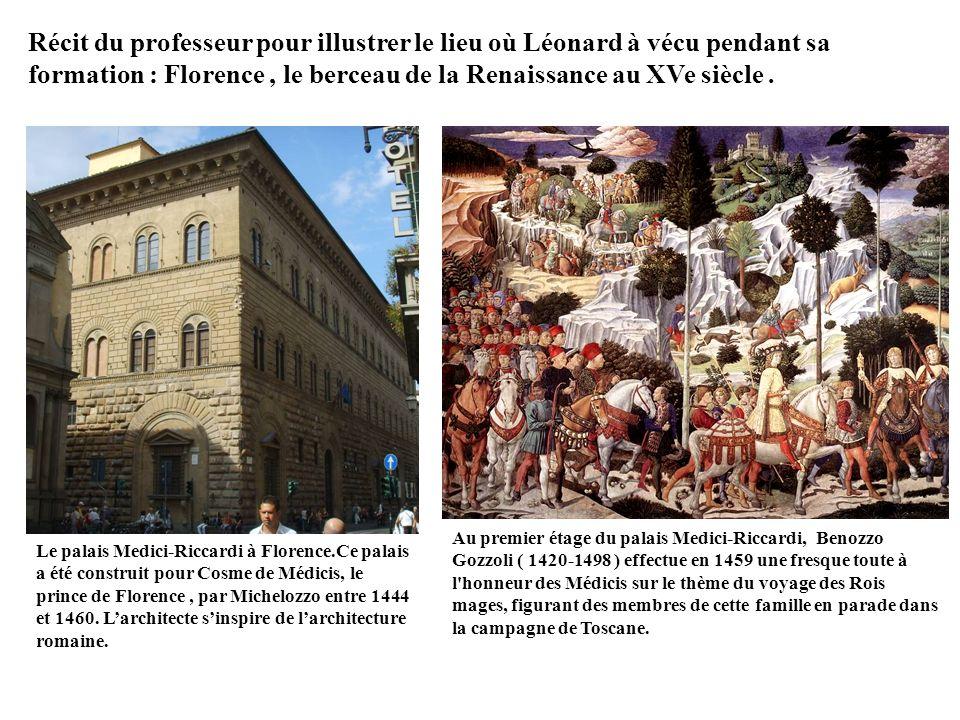Récit du professeur pour illustrer le lieu où Léonard à vécu pendant sa formation : Florence , le berceau de la Renaissance au XVe siècle .