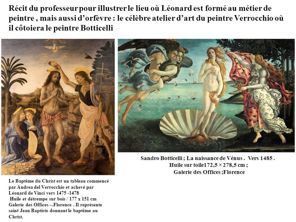 Récit du professeur pour illustrer le lieu où Léonard est formé au métier de peintre , mais aussi d'orfèvre : le célèbre atelier d'art du peintre Verrocchio où il côtoiera le peintre Botticelli