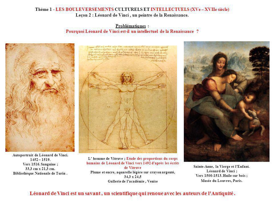 Thème 1 - LES BOULEVERSEMENTS CULTURELS ET INTELLECTUELS (XVe – XVIIe siècle) Leçon 2 : Léonard de Vinci , un peintre de la Renaissance. Problématiques : Pourquoi Léonard de Vinci est-il un intellectuel de la Renaissance