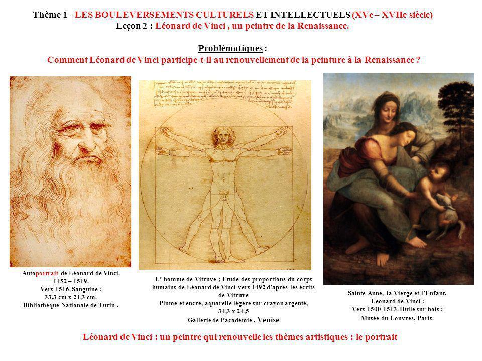 Thème 1 - LES BOULEVERSEMENTS CULTURELS ET INTELLECTUELS (XVe – XVIIe siècle) Leçon 2 : Léonard de Vinci , un peintre de la Renaissance. Problématiques : Comment Léonard de Vinci participe-t-il au renouvellement de la peinture à la Renaissance