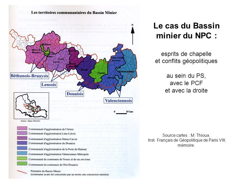 Le cas du Bassin minier du NPC : esprits de chapelle et conflits géopolitiques au sein du PS, avec le PCF et avec la droite Source cartes : M.