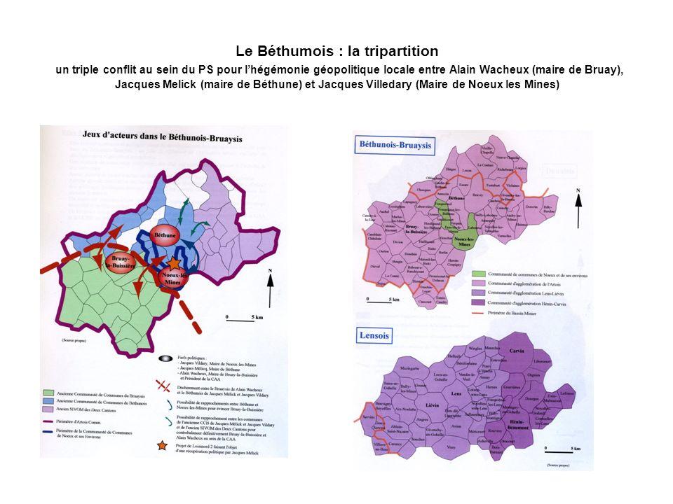 Le Béthumois : la tripartition un triple conflit au sein du PS pour l'hégémonie géopolitique locale entre Alain Wacheux (maire de Bruay), Jacques Melick (maire de Béthune) et Jacques Villedary (Maire de Noeux les Mines)