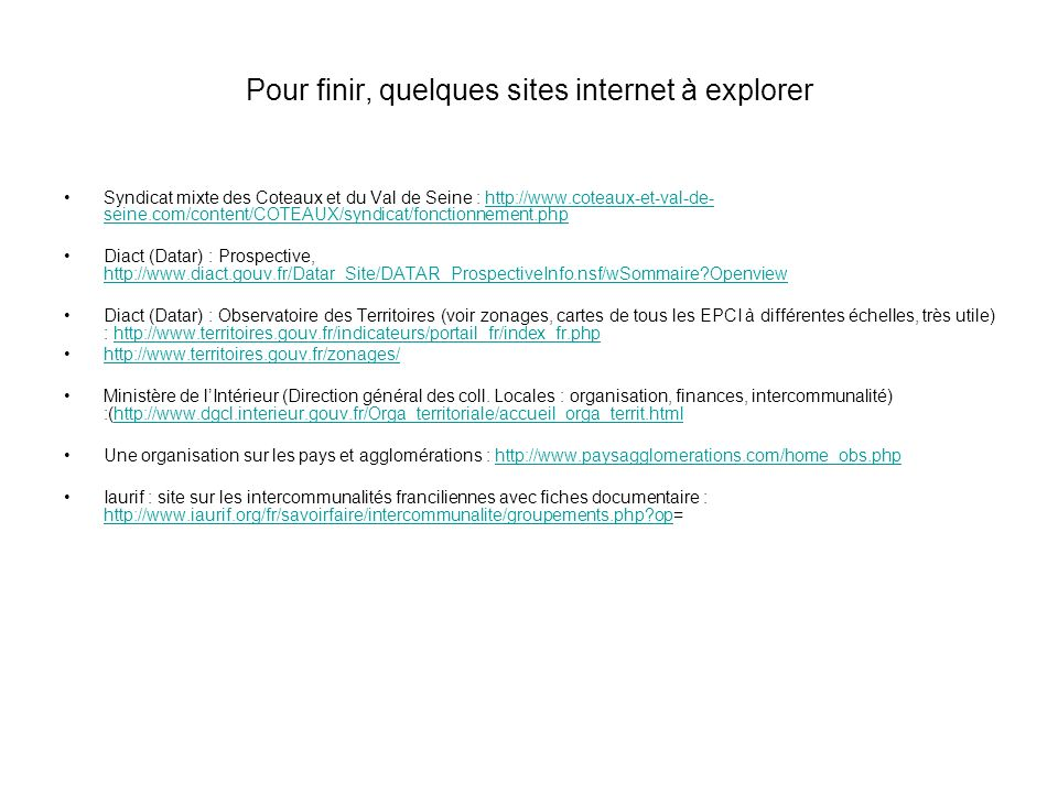 Pour finir, quelques sites internet à explorer