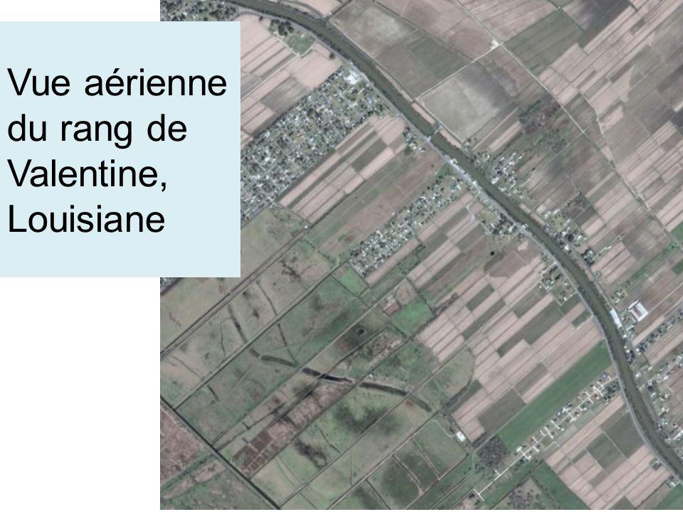 Vue aérienne du rang de Valentine, Louisiane