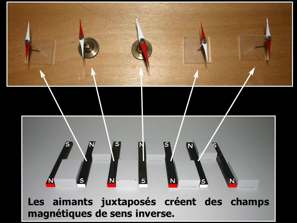 Les aimants juxtaposés créent des champs magnétiques de sens inverse.