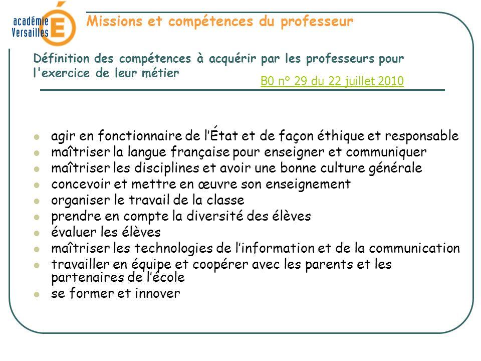 Missions et compétences du professeur