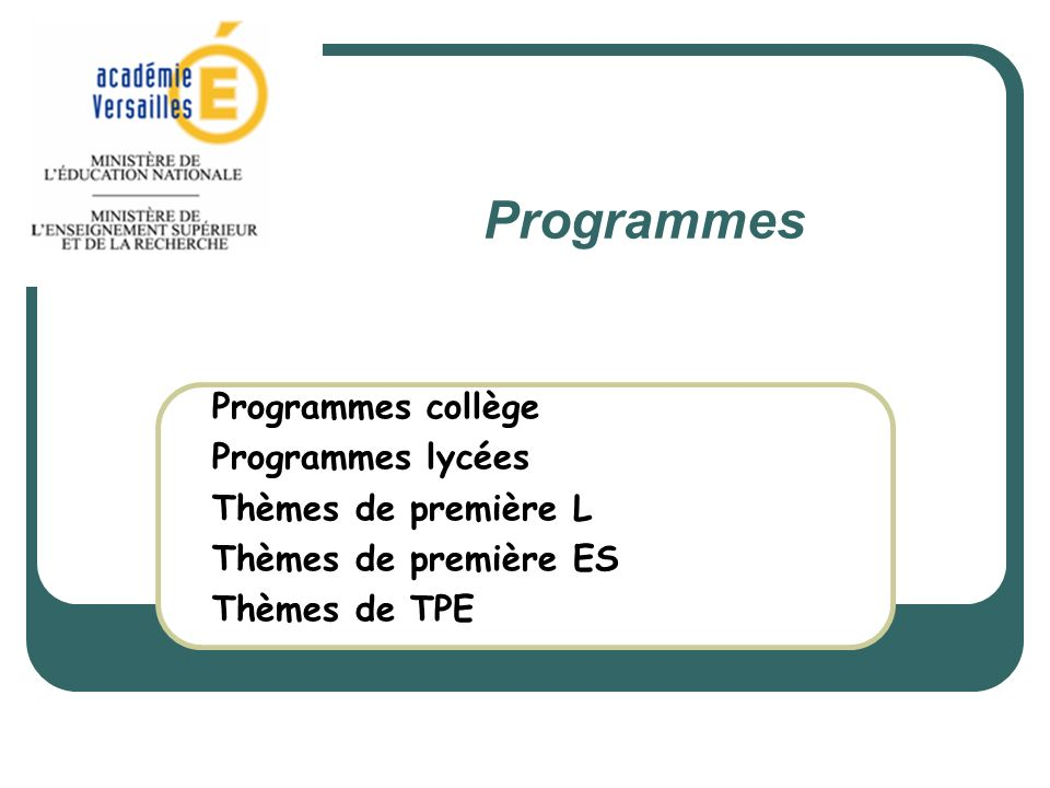 Programmes Programmes collège Programmes lycées Thèmes de première L