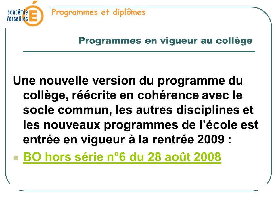 Programmes en vigueur au collège