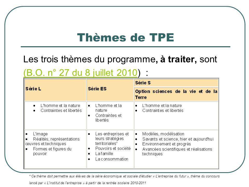 Thèmes de TPE Les trois thèmes du programme, à traiter, sont