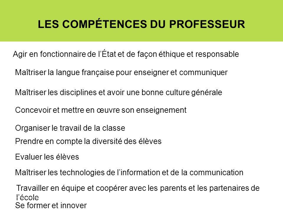LES COMPÉTENCES DU PROFESSEUR