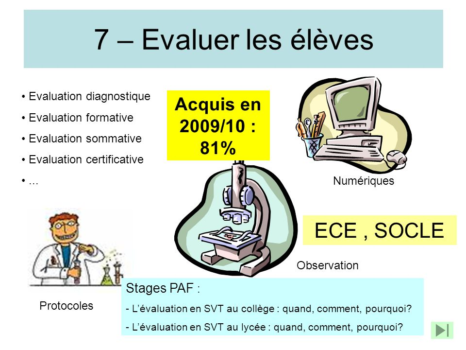 7 – Evaluer les élèves ECE , SOCLE Acquis en 2009/10 : 81%