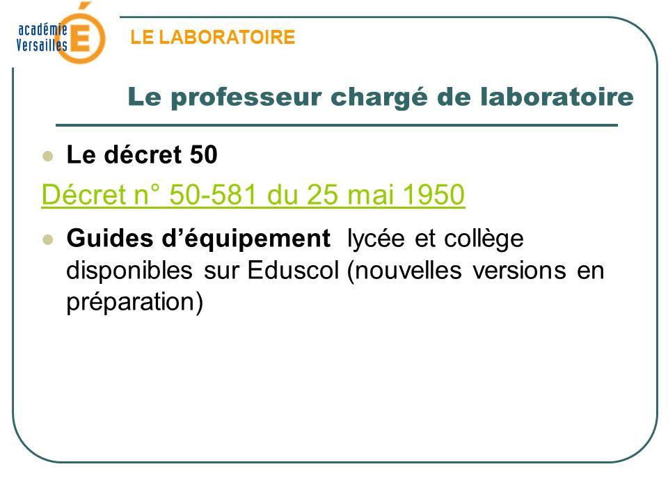 Le professeur chargé de laboratoire