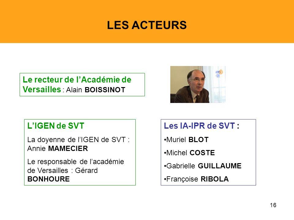 LES ACTEURS Le recteur de l'Académie de Versailles : Alain BOISSINOT