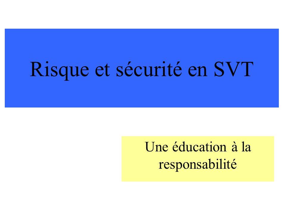 Risque et sécurité en SVT