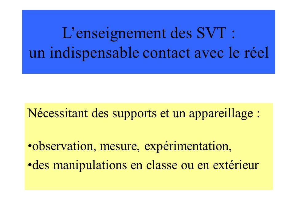 L'enseignement des SVT : un indispensable contact avec le réel