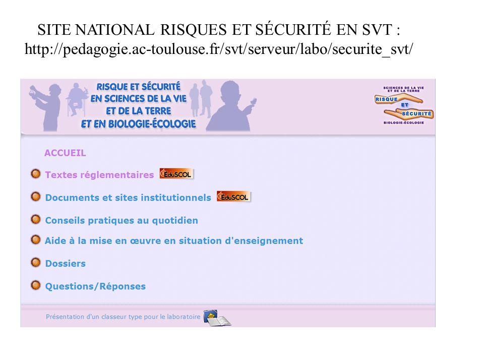 SITE NATIONAL RISQUES ET SÉCURITÉ EN SVT :