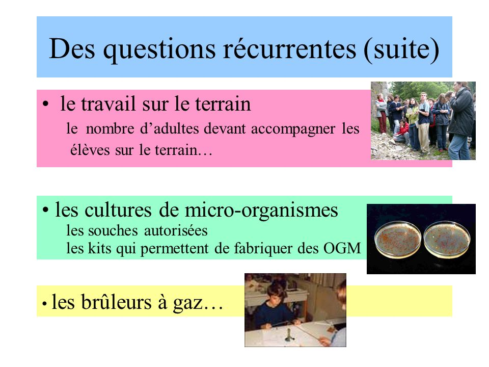 Des questions récurrentes (suite)