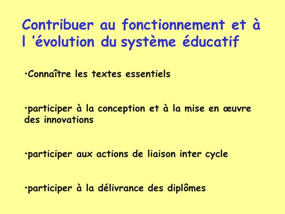Contribuer au fonctionnement et à l 'évolution du système éducatif