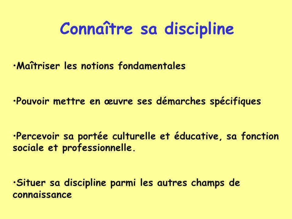 Connaître sa discipline