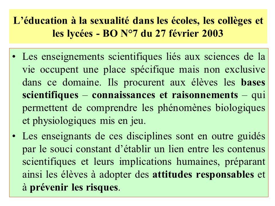 L'éducation à la sexualité dans les écoles, les collèges et les lycées - BO N°7 du 27 février 2003