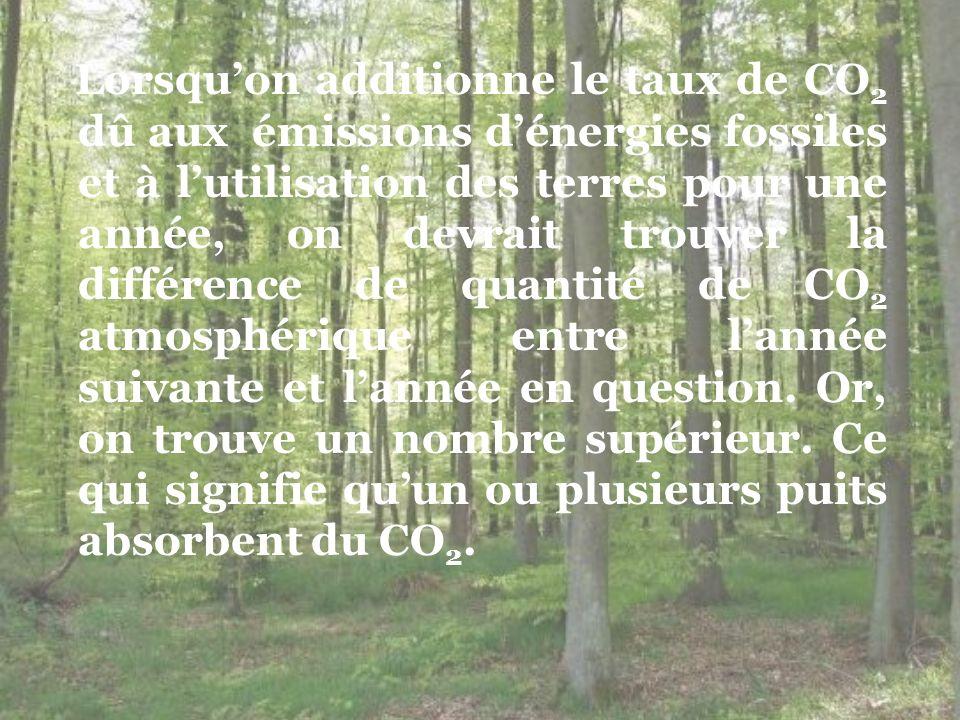 Lorsqu'on additionne le taux de CO2 dû aux émissions d'énergies fossiles et à l'utilisation des terres pour une année, on devrait trouver la différence de quantité de CO2 atmosphérique entre l'année suivante et l'année en question.