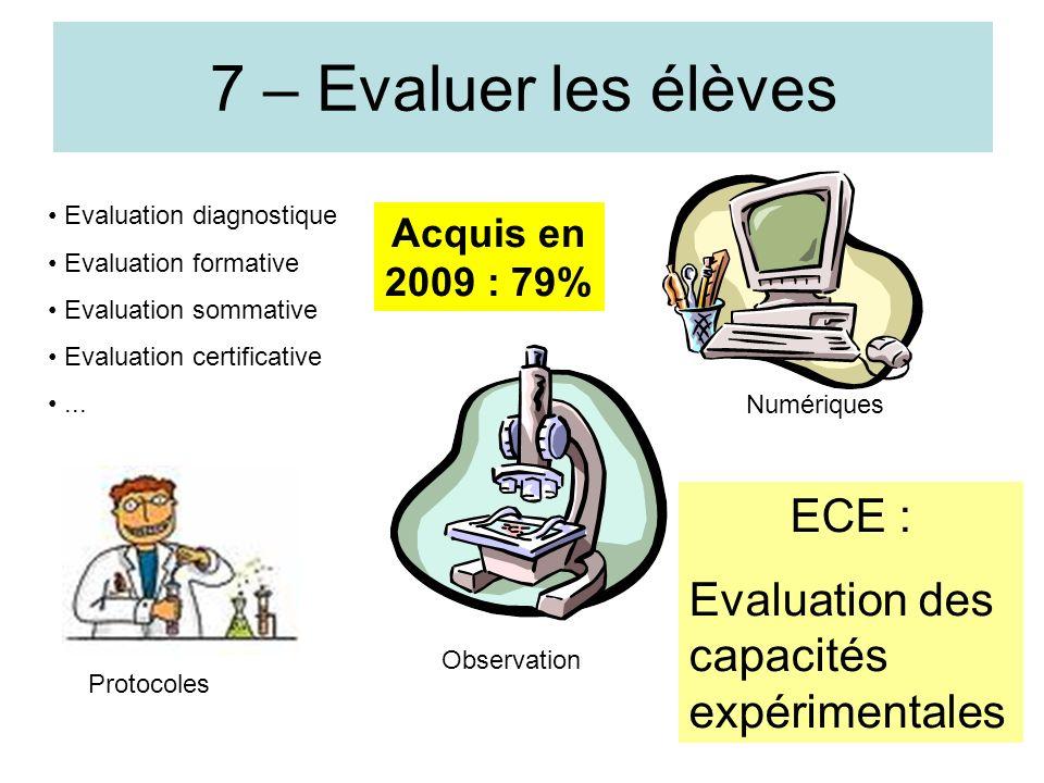 7 – Evaluer les élèves ECE : Evaluation des capacités expérimentales
