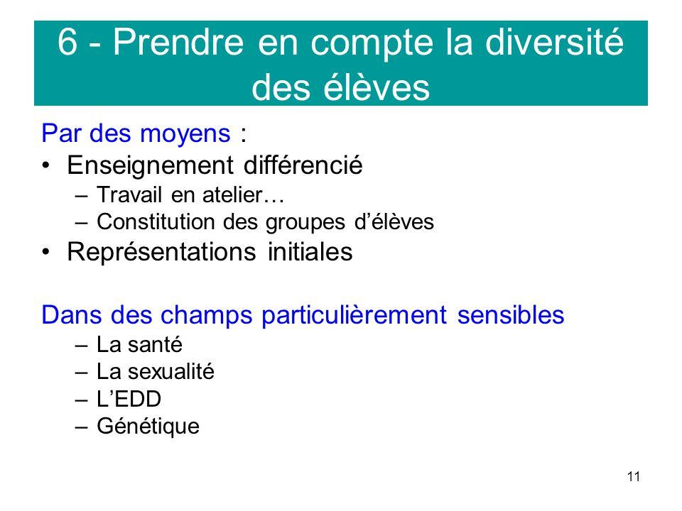 6 - Prendre en compte la diversité des élèves