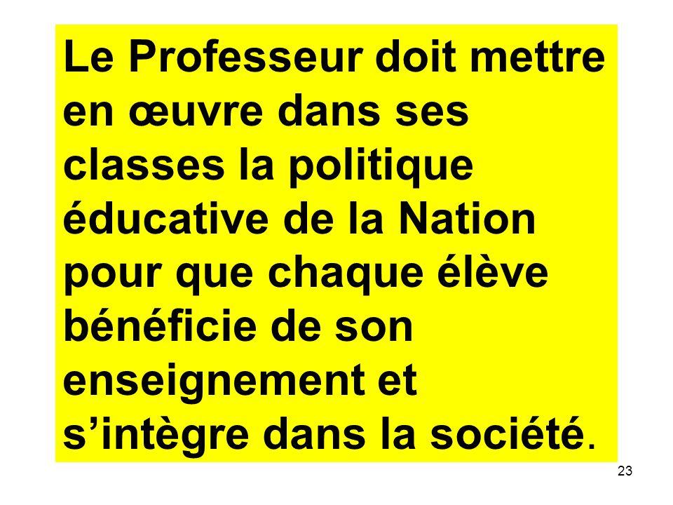 Le Professeur doit mettre en œuvre dans ses classes la politique éducative de la Nation pour que chaque élève bénéficie de son enseignement et s'intègre dans la société.