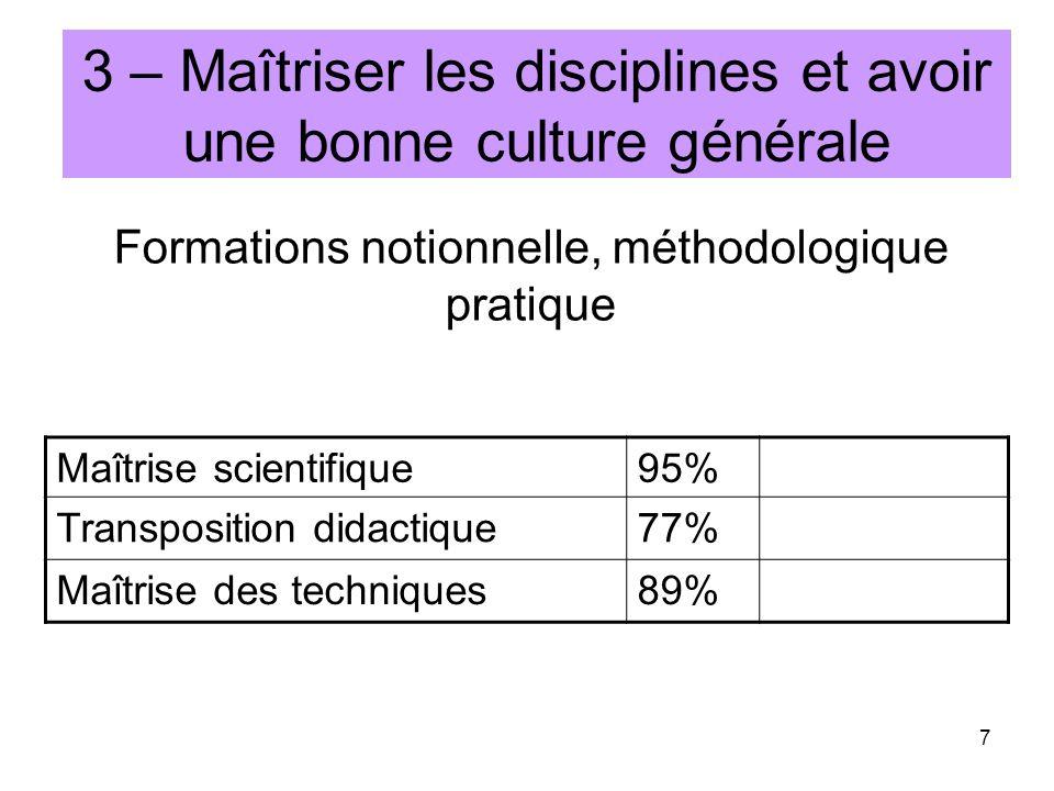 3 – Maîtriser les disciplines et avoir une bonne culture générale