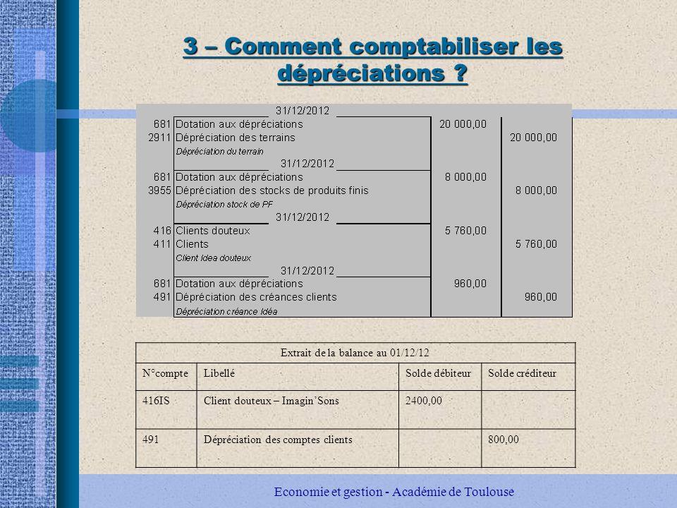 3 – Comment comptabiliser les dépréciations