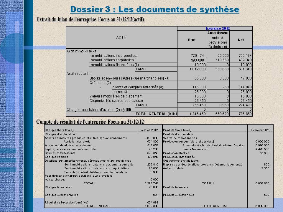 Dossier 3 : Les documents de synthèse