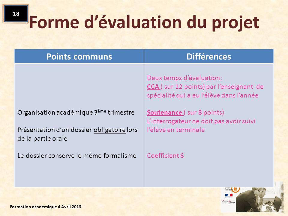 Forme d'évaluation du projet