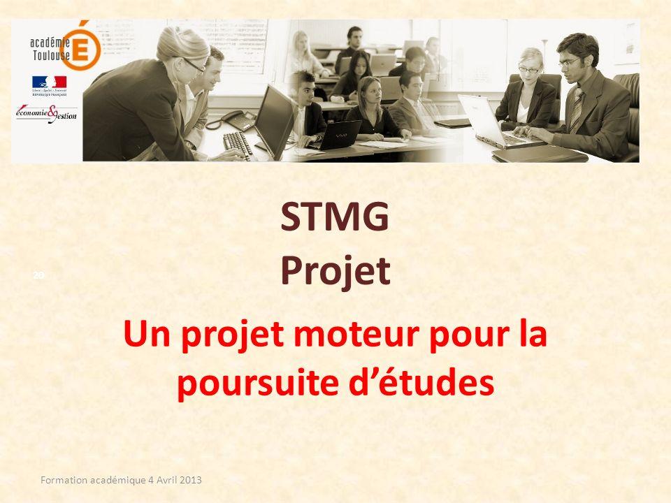 Un projet moteur pour la poursuite d'études