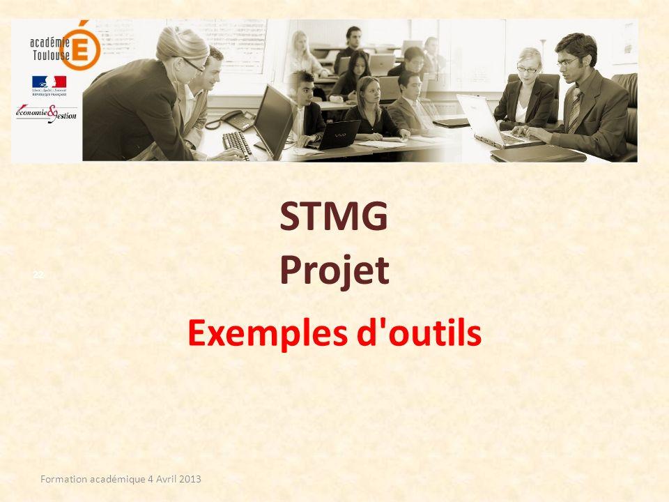 STMG Projet Exemples d outils Formation académique 4 Avril 2013
