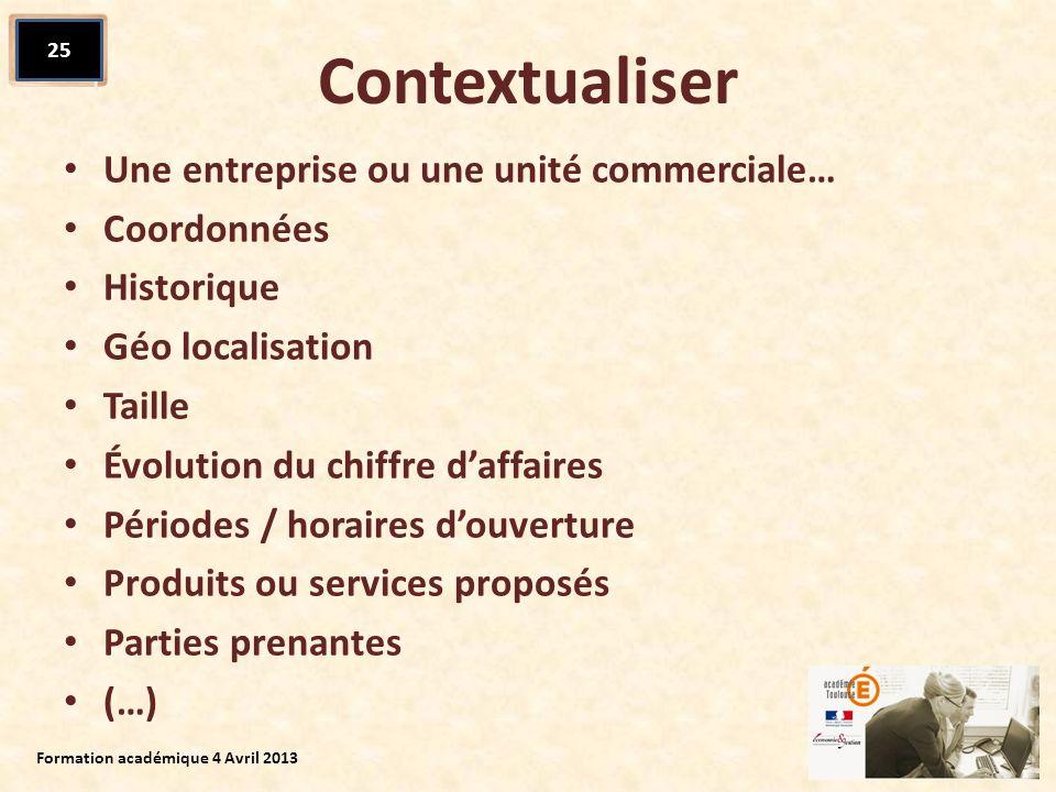 Contextualiser Une entreprise ou une unité commerciale… Coordonnées