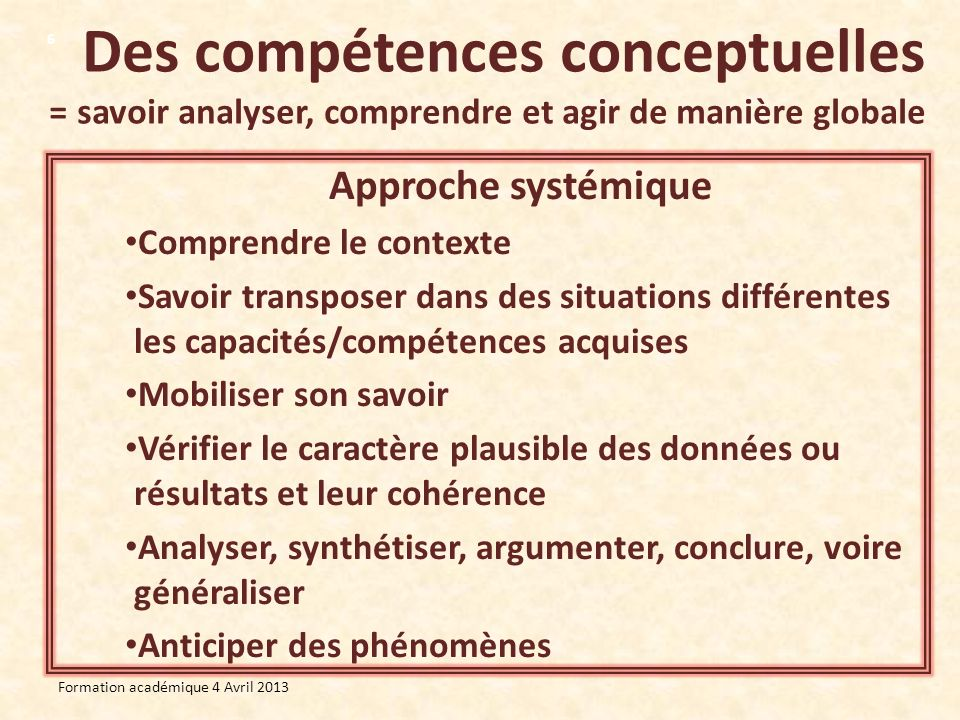 Des compétences conceptuelles = savoir analyser, comprendre et agir de manière globale