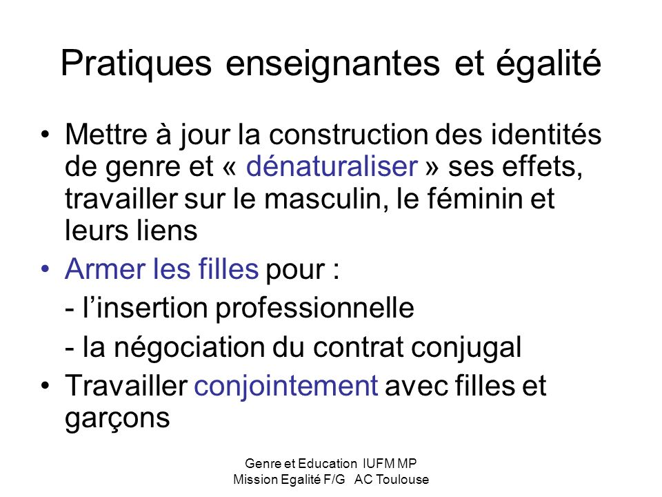 Pratiques enseignantes et égalité