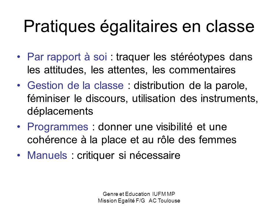 Pratiques égalitaires en classe