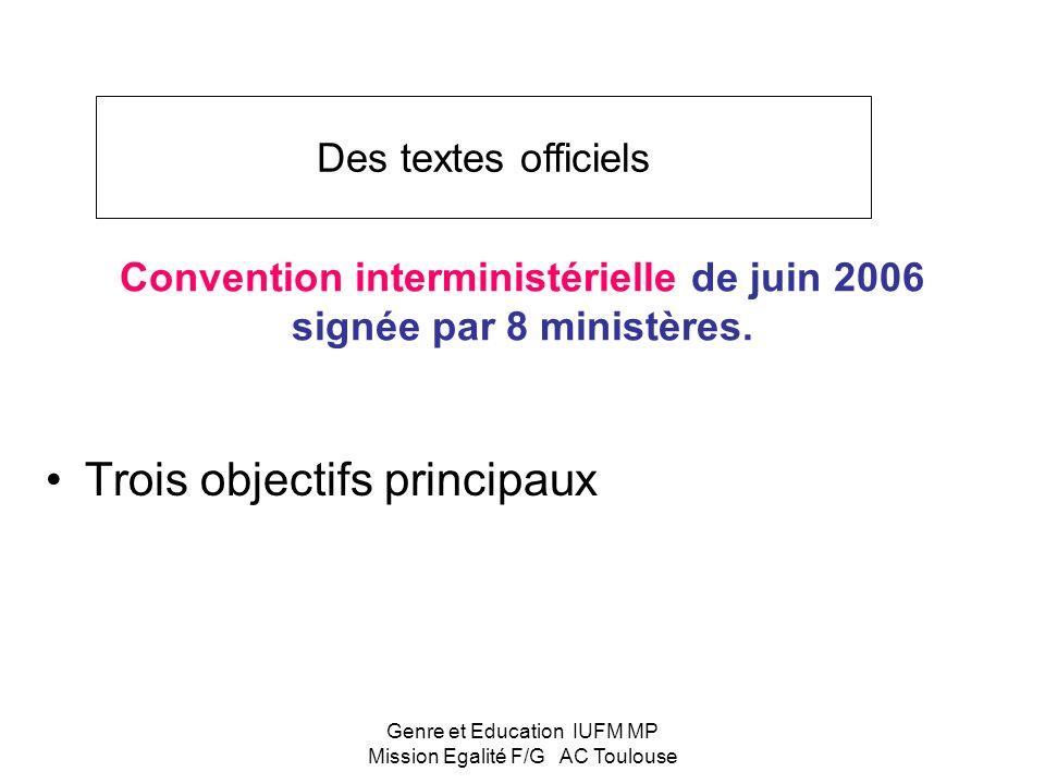 Convention interministérielle de juin 2006 signée par 8 ministères.