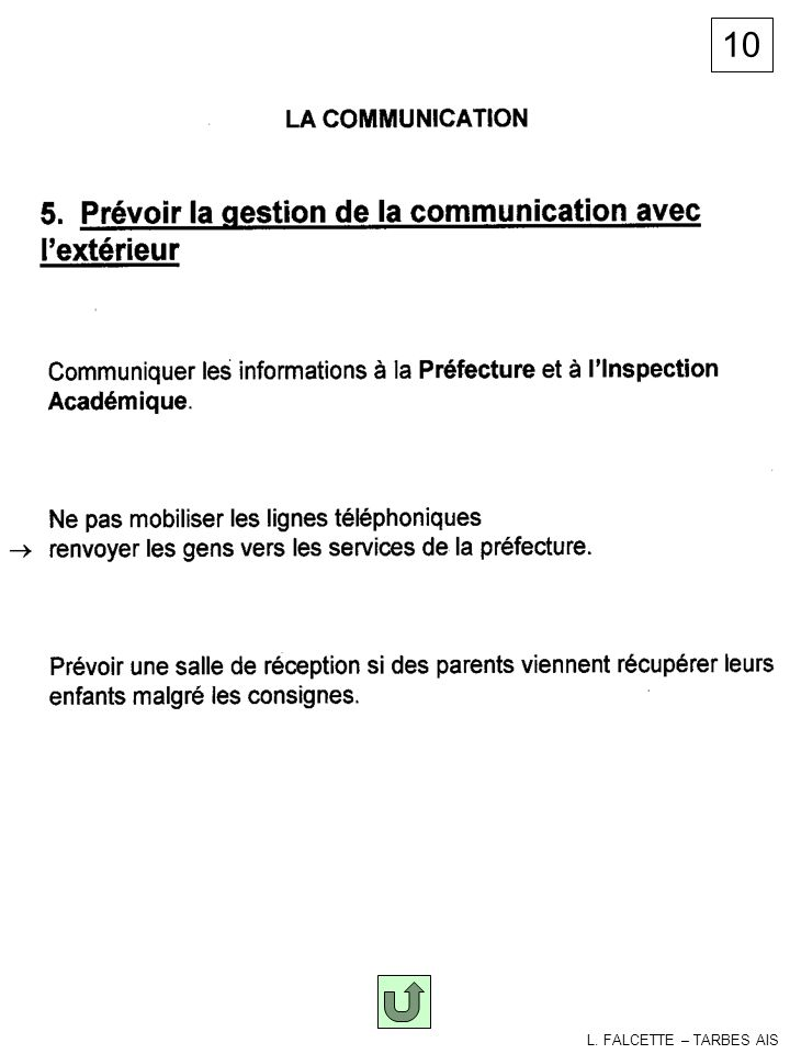 10 Communication L. FALCETTE – TARBES AIS